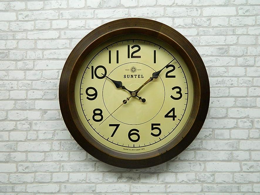 意図コンプライアンスめ言葉さんてる(Suntel) 掛け時計 ブラウン 直径285×65mm レトロ サークル 電波掛け時計 アンティーク?ブラウン DQL682-AN