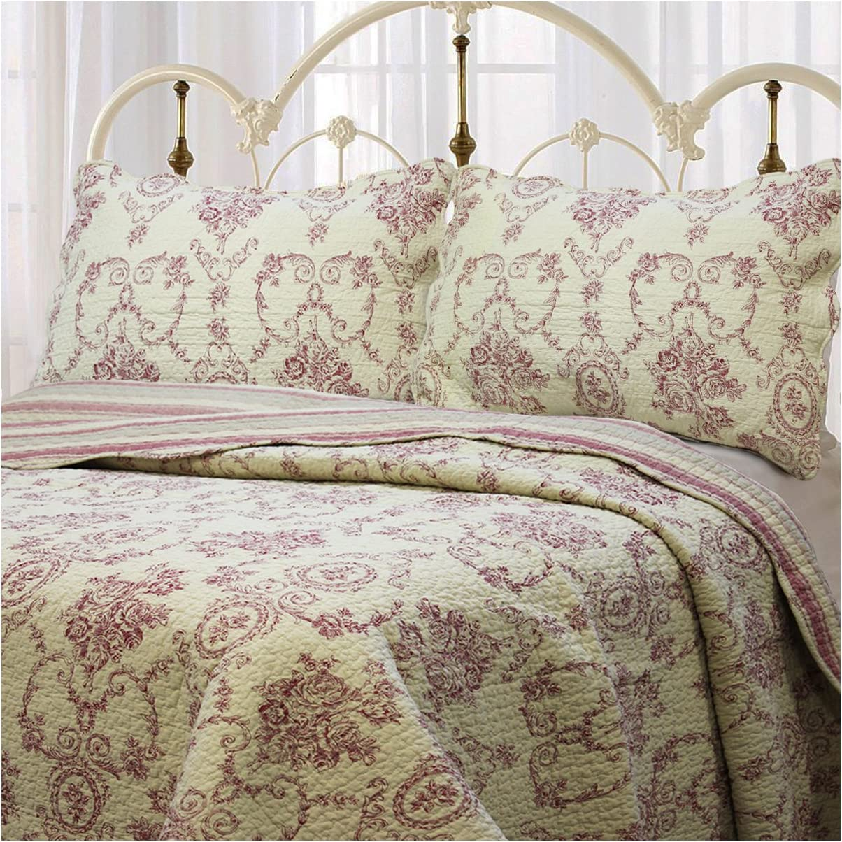 Cozy Max 66% OFF store Line Home Fashions Size Red Medallion French 3 Piece Cotton