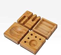 NEW 4-in-1 Bamboo Desk Organizer Blocks Set | 100% Natural Wood, Eco-friendly | Smartphone Stand, Pens and Paper Clips | Unique and Fun Stationary Storage Solution for Kitchen, Home and Office
