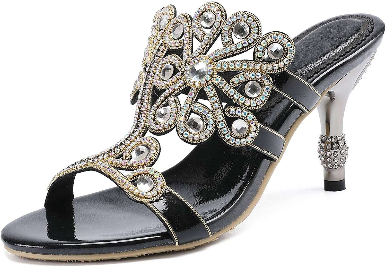 YooPrettyz Flowers Cutout Sandal High Heels Slipper shoes Rhinestone Wedding Dress Sandals