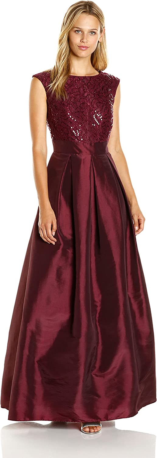 Chetta B Womens Sequin Satin Gown Dress