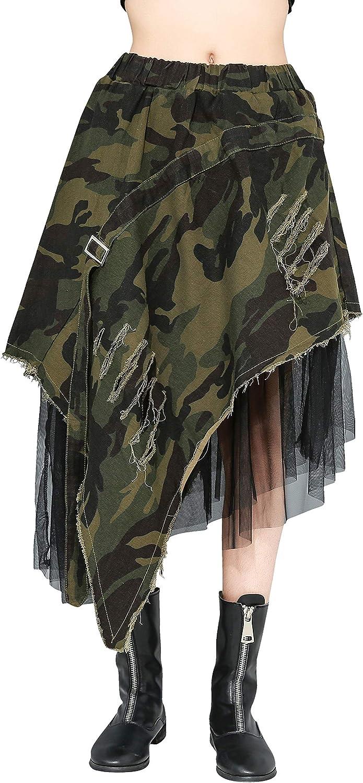 ellazhu Women Early Spring Camouflage Mesh Denim Skirt Irregular Hem GY2175