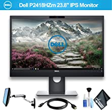 Dell P2418HZM Video Conferencing 16:9 IPS Monitor, 1920x1080P, 1000:1, 6ms (GTG) with HDMI Cable and Ergotron 45-243-026 LX Wall Mount LCD Arm