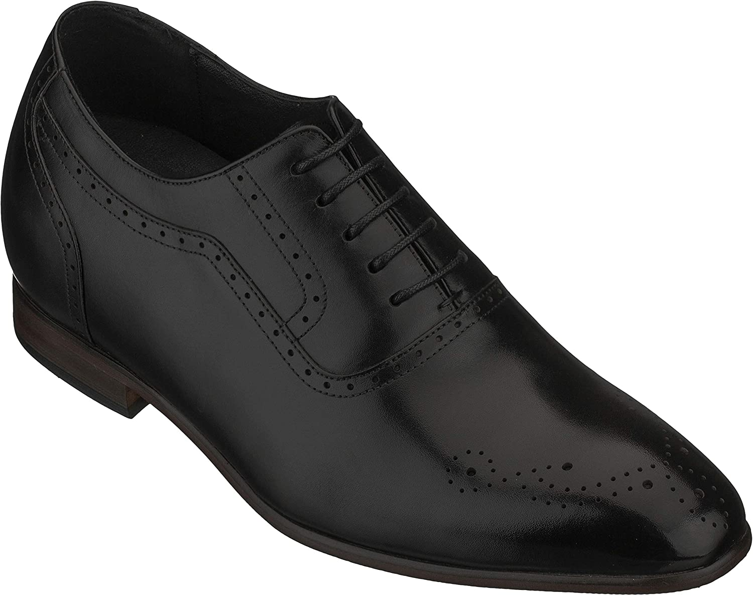CALTO Men's Invisible Height Increasing Elevator Shoes - Premium Leather Lace-up Lightweight Formal Oxfords - 2.6 Inches Taller