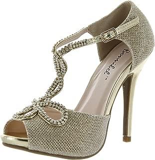 Bonnibel Womens Shiny Heel Glitter Evening Wedding Promo Sandals Shoes