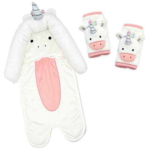 Travel Bug Baby & Toddler 3-Piece Head Support & Strap Covers Set for Car Seats, Strollers & Bouncers … (Unicorn)