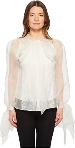 Marchesa Silk Organza Blouse w/ Bow Detail