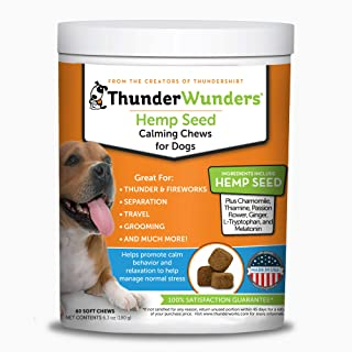 ThunderWunders Hemp Dog Calming Chews | Vet Recommended for Situational Anxiety | Fireworks, Thunderstorms, Travel & More | Made with Hemp Seed, Thiamine, L-Tryptophan, Melatonin & Ginger