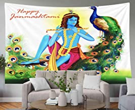 GROOTEY Tapestry Wall Hanging,Tapestry 60x50Inches Easy to Edit Happy Background Janmashtami Tapestries Wall Art for Home Bedroom Dorm Decoration,Pink Yellow