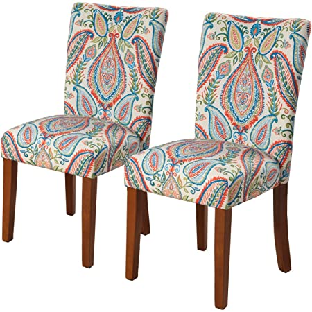 Amazon Com Homepop Parsons Classic Upholstered Accent Dining Chair Set Of 2 Colorful Paisley Chairs