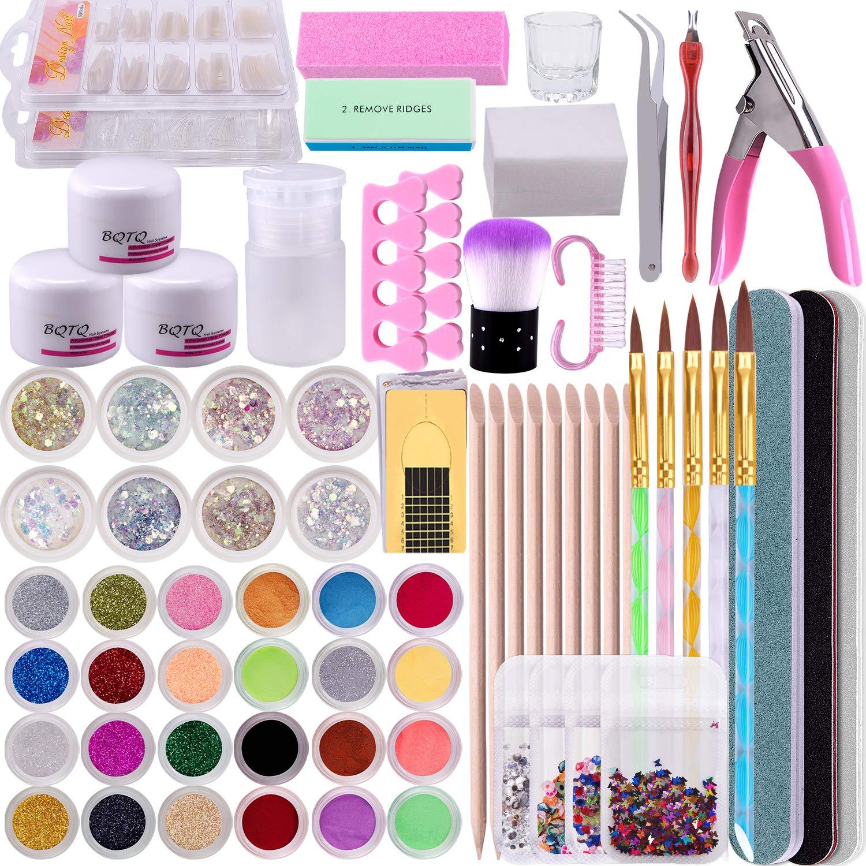BQTQ Acrylic Nail Portland Mall Art Kit White〠with 3 Powder Color Attention brand