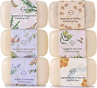 O Naturals 6 Piece Moisturizing Body Wash Bar Soap Collection. 100% Natural Made w/Organic Ingredients & Therapeutic Essential Oils. Face & Hands. Vegan Triple Milled. Gift Set. For Women & Men 4 Oz