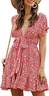 Floerns Women's Ditsy Floral Plunge Neck Knot Front A Line Short Dress