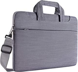 MOSISO Laptop Shoulder Bag Compatible with 15 inch MacBook Pro with Touch Bar A1990 A1707 2019 2018 2017 2016, 14 inch ThinkPad Chromebook, Denim Carrying Handbag Briefcase Sleeve Case Cover, Gray