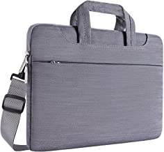 MOSISO Laptop Shoulder Bag Compatible with 15-15.6 inch MacBook Pro, Ultrabook Netbook Tablet, Ultraportable Protective Denim Fabric Carrying Handbag Briefcase Sleeve Case Cover, Gray