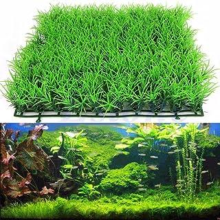Hemore - Adorno para pecera de plástico de imitación para acuario, césped artificial para pecera, 25 x 25cm