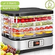 Food Dehydrator Machine Jerky... Food Dehydrator Machine Jerky with Timer, Five Tray, LCD Display Screen/BPA Free/250Watt...