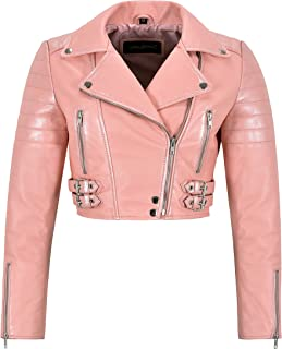 Ladies Baby Pink Leather Jacket White Pearl Effect Cropped Bikers Fashion Jacket 5625