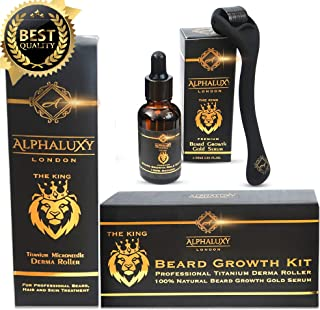 Beard Growth Kit - Derma Roller for Beard Growth .5mm + Facial Hair Growth Activator Serum | Microneedle Beard Roller for Men Hair Growth & Organic Beard Oil - Beard Stimulator | Free Grow Beard Guide