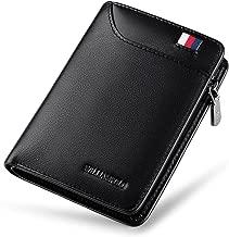 محفظة WILLIAMPOLO رجالية من الجلد الأصلي Slim Wallet رجالي قصير مسامير نقود وجيب صغير لبطاقات الائتمان قابلة للطي مع نافذة لبطاقة الهوية