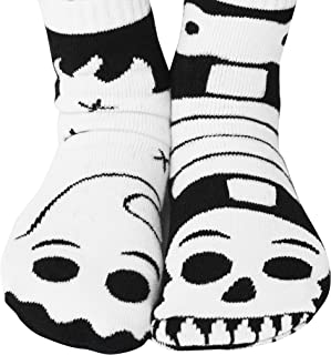 SPOOKTACULAR Ghost and Skeleton Kids Glow-in-the-Dark Mismatched Friends Socks with No Slip Beads