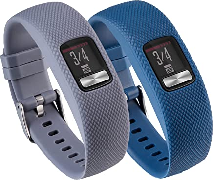Vivofit 4 Sport Bands Large/Small,TenCloud 2 in 1 Bundle Adjustable Replacement Silicone Wrist Band w/Hardware Buckle for Garmin vivofit 4 Tracker (Gray,Dark Blue, Small (4.7 in-7.5 in))