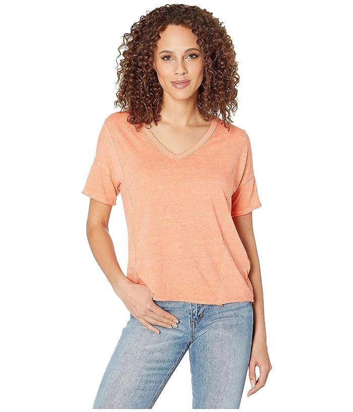 Lucky Brand  Seamed Burnout Tee (Persimmon) Womens T Shirt