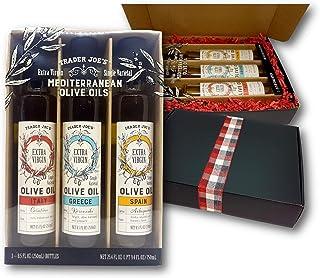 Trader Joe's Mediterranean Olive Oils Extra Virgin Single Varietal ,3-Variety, 3 Origins in Black Gift Boxed 3 X 8.5 Fl. Oz.