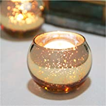 SHMILMH Round Gold Votive Candle Holders for Table, Set of 12 Mercury Glass Tealight Candle Holders Bulk with Speckled, Ch...