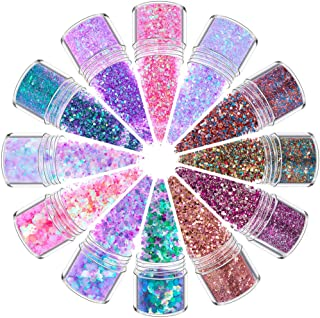 Holographic Chunky Glitter Opal Chunky Glitter Face Body Eye Hair Nail Festival Chunky Holographic Glitter 12 Color Mixolo...