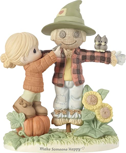 Precious Moments Bisque Porcelain Girl With Scarecrow Figurine Multi