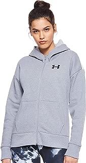 Under Armour Women's Originators Fleece Hooded Fz Lc Logo Jacket, Grey (Steel Light Heather/Apex Pink Black), Large