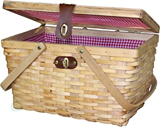 "Vintiquewise QI003148N Woodchip Large Picnic Basket Red and White Gingham Lining Folding Handles, 14.5"" x 10"" x 8.75"", Natural"