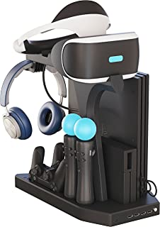 Skywin PSVR Charging Display Stand - Showcase, Cool, Charge, and Display your PS4 VR - Playstation 4 Vertical Stand, Fan, Controller Charger and Hub