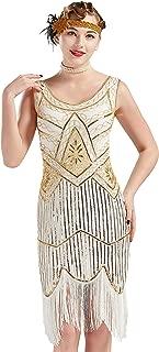 1920s Flapper Dress Roaring 20s Great Gatsby Costume Dress Fringed Sequin Dress Embellished Art Deco Dress