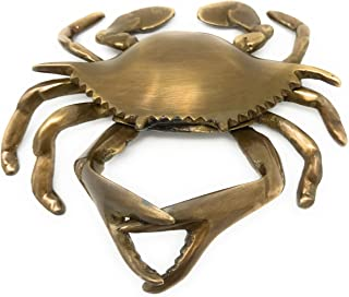 Madison Bay Company Nautical Antiqued Brass Blue Crab Paperweight, 5.5 Inches Wide