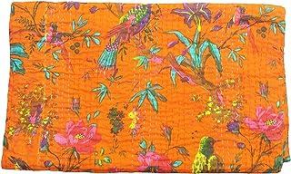 PUSHPACRAFTS Orange Bird Print King Size Kantha Quilt Blanket Bed Cover, King bedspread, Bohemian Bedding Tree of Life des...