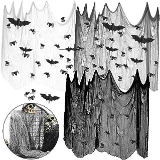 3 قطع من MOLECOLE مقاس 75.2 × 304.8 سم من قماش خيف للهالوين لبيت المسكون أو حفلات الهالوين أو ديكور خارجي مع عنكبوت مخيف و...