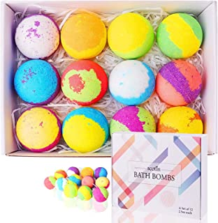 Bath Bombs Gift Set, Natural Bath Bombs for Women with Vegan Essential Oil, Rich Fizz, Bubbles, Handmade Bath Bombs for Skin Moisturize, Ideal Gift of Birthday, Home Spa for Women, Mothers, Kids