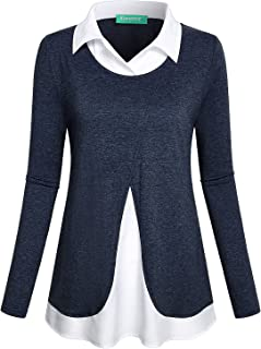 Women's Long Sleeve Collared Patchwork 2 in 1 Layered Top Blouse