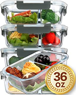 [5-Packs,36 Oz]Glass Meal Prep Containers 2 Compartments Portion Control with Upgraded Snap Locking Lids Glass Food Storage Containers BPA-Free, Microwave, Oven, Freezer and Dishwasher Safe (4.5 Cups)