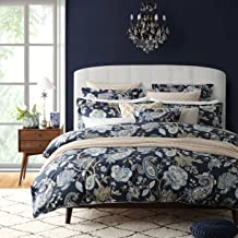 Nicole Miller Bedding 3 Piece Cotton King Duvet Cover Set Jacobean Floral Paisley Vines Pattern in Shades of Blue, Brown and Beige on a Midnight Blue Background