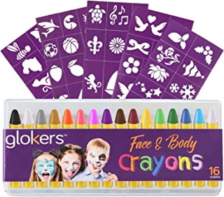 glokers 16-Piece Face and Body Crayons - Non-Toxic, Hypoallergenic Washable Paint Sticks - Sweat Proof Painting Markers for Children and Adult Costume Parties, Halloween, Christmas. Bonus 50 Stencils