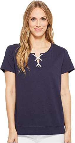 Nautica Knit Short Sleeve Lace-Up Top