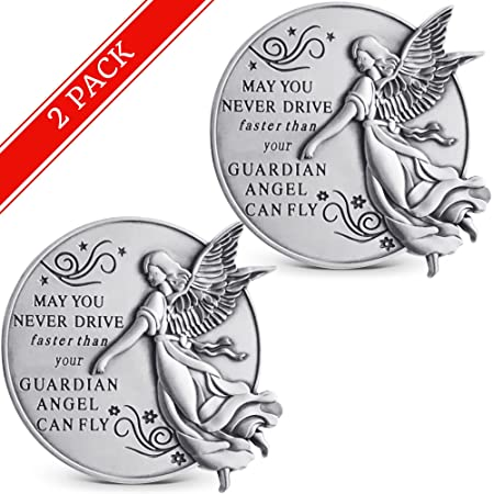 Guardian Angel Visor Clip For Car Set Of 2 2 1 4 Inch Diameter Metal Reads May You Never Drive Faster Than Your Guardian Angel Can Fly Best Parents Gift Idea For New
