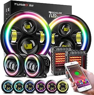 TURBOSII 7 RGB Halo LED Headlights 4 Color Changing DRL Fog Lights Parking Brake Reverse Amber Turn Signal Rear Tail Lights Assembly Bluetooth APP Control for Jeep Wrangler 1997 2018 JKU JK