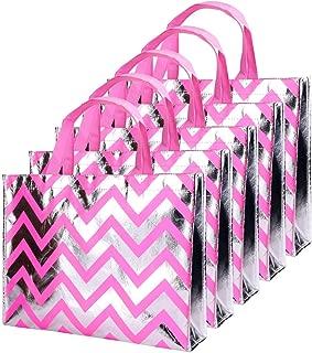 Gesodant Bling Bling Shiny Stripe Pink Non-woven Tote Bag, Stylish Eco Reusable Shopping Bag, Gift Bag, Goodies Bag, Grocery Bag, Party Bag, Set Of 10