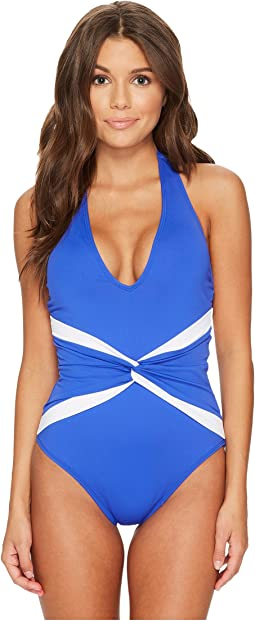 Beach Club Plunge Twist Halter One-Piece Shaping Fit w/ Removable Cups