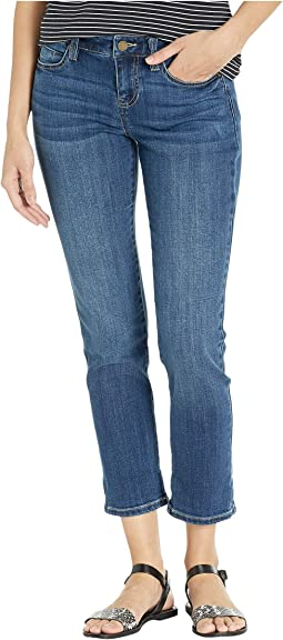 Petite Peyton Slim Boyfriend in Tencel Crosshatch Stretch Denim in Edgewater