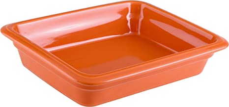 Paderno World Cuisine 44315O06 Induction Porcelain Hotel Pan, Small, Orange